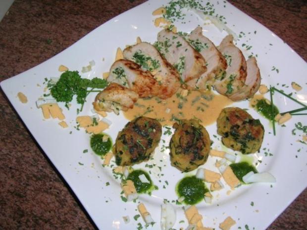 Hühnerbrust, gefüllt mit Ricotta und Bärlauch an Brot-Bärlauch-Nocken - Rezept - Bild Nr. 4