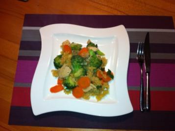 Asiatisches Hühnchen mit Broccoli und Möhren aus dem Wok - Rezept