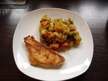 Kürbis - Kartoffelsalat mit Putensteak - Rezept