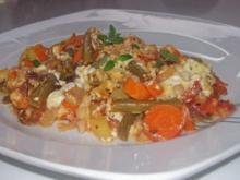 Buntes Schmorgemüse mit Schmandguss und dreierlei Käse - Rezept