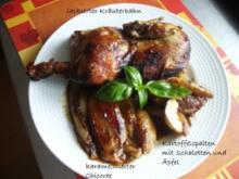 Kräuterhähnchen umgeben von Kartoffeln und Schalotten - Rezept