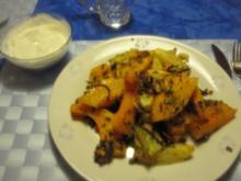 Überbackener Butternuss-Kürbis mit Gemüse und Kräutern - Rezept