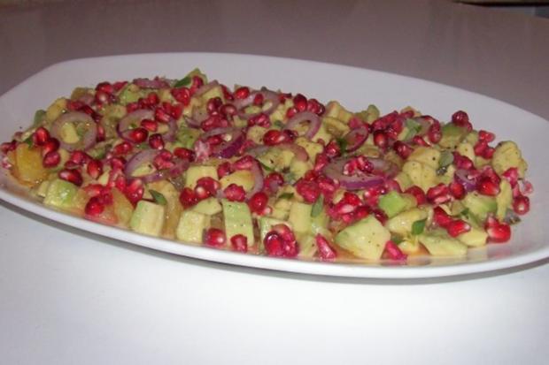 Salat/Vorspeise: Fruchtiger Avocado-Orangen-Salat mit Granatapfel - Rezept - Bild Nr. 9