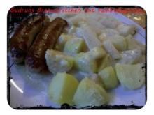 Fleisch: Bratwürstchen mit Kohlrabigemüse und Salzkartoffeln - Rezept