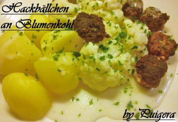 Blumenkohl an Zwiebelhackbällchen und Salzkartoffeln - Rezept - Bild Nr. 7
