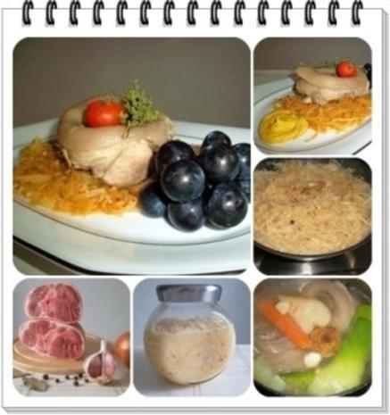 Gekochtes Eisbein mit Sauerkraut  und Weintrauben - Rezept - Bild Nr. 3