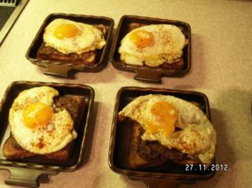 Brot mit Spiegelei und Hack - Rezept