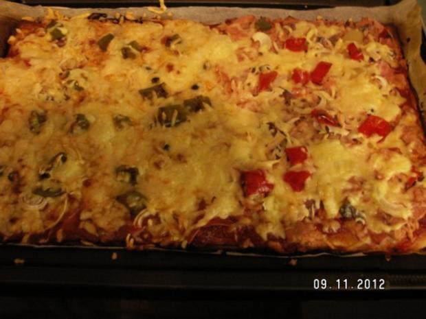 Schnelle Pizza Fifty-Fifty - Rezept