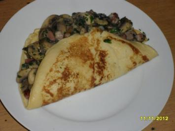 Gefüllte Eierkuchen mit Pilzen - Rezept
