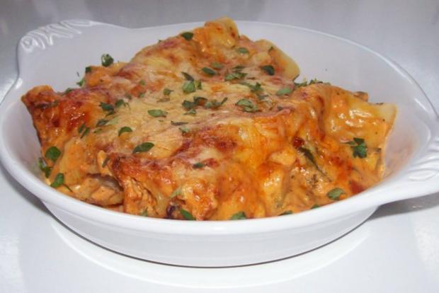 Vier-Käse-Lachs-Lasagne-Rollen in cremiger Gemüsesoße - Rezept - Bild Nr. 15