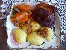 Geflügel : Putenoberschenkel auf Gemüsebett mit Kartoffeln - Rezept