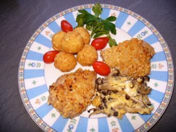 Kalbsmedaillons, Shimeji-Pilze und Mandelbällchen - Rezept