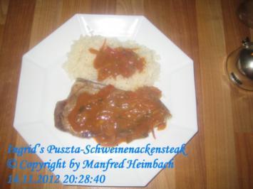 Fleisch – Ingrid's Schweinenackensteak an feuriger Pusztasauce - Rezept