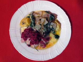 Schweinefilet mit roten Zwiebeln und Cassis, dazu Mangoldgratin mit Gorgonzola - Rezept