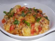 Würziger Kartoffel-Champignon-Auflauf mit Gorgonzola und Pesto-Guss - Rezept