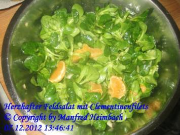 Salat – Herzhafter Feldsalat mit Clementinenfilets und Gänsefettcroutons - Rezept