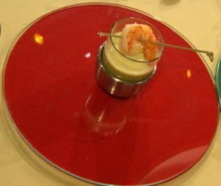 Cappuccino von Curry und Zitronengras mit Garnelenspieß (Reiner Calmund) (Vorspeise) - Rezept