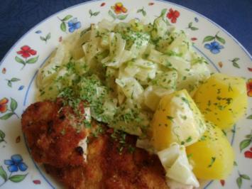 Minutensteaks nach Wiener Art mit Fenchelrahmgemüse - Rezept