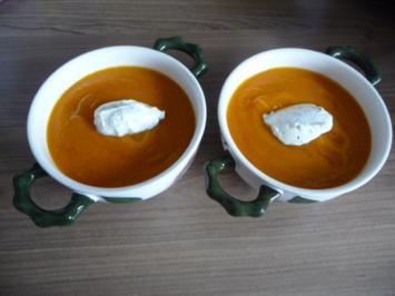 Küchenfee : Kürbissuppe mit Crème fraîche - Rezept