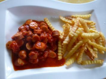 Wurstgulasch in würziger Tomaten-Balsamicosauce. - Rezept