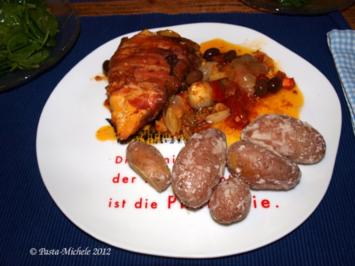 Maishähnchensupréme alla Saltimbocca mit Pesto-Rosso - Rezept