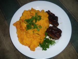 Kürbis-Kartoffelbrei mit Rinderleber - Rezept