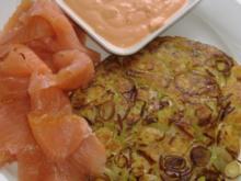 Kartoffel-Lauch-Rösti mit Räucherlachs - Rezept
