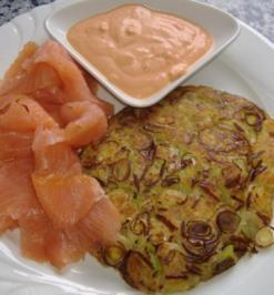 Rezept: Kartoffel-Lauch-Rösti mit Räucherlachs