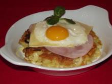 Schweizer Sennen-Rösti mit Schinken, Käse und Spiegelei - Rezept