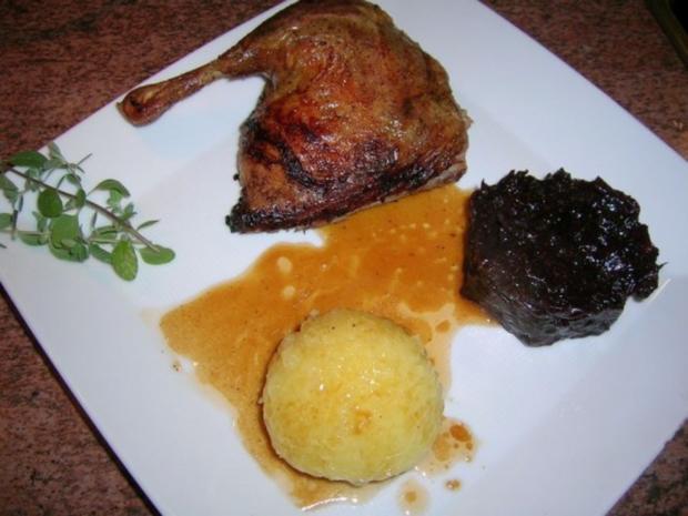 1. Advent-Menü (Entenbraten mit gezupftem Rotkohl , Riesengarnelen auf winterlichem Salat - Rezept