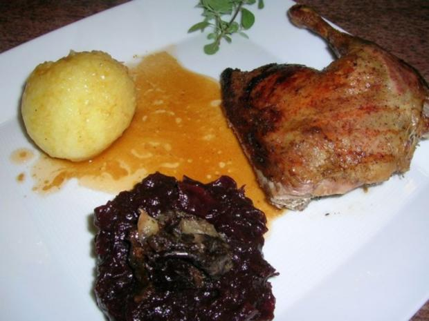 1. Advent-Menü (Entenbraten mit gezupftem Rotkohl , Riesengarnelen auf winterlichem Salat - Rezept - Bild Nr. 10