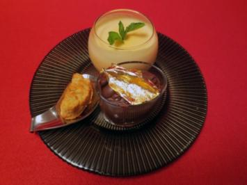 Rezept: Physaliscreme und Schokomousse mit Mandeln und Mandelgebäck