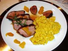 Entenbrust mit Portweinfeigen und Safran - Risotto - Rezept