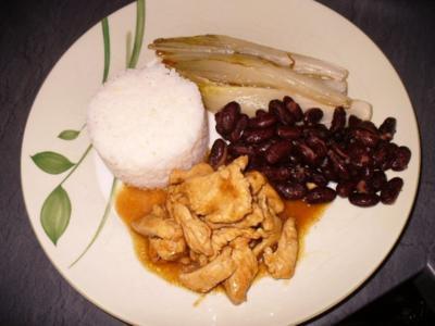Geschnetzeltes vom Huhn mit gebratenen  Chicorèespalten und Kidneybohnen an Reis - Rezept