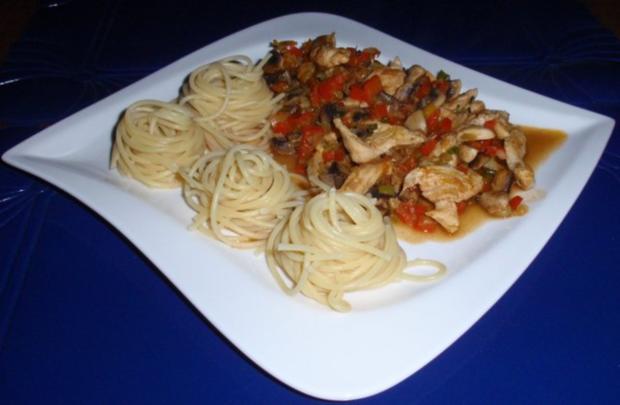 Pikante Hähnchenstreifen mit Spaghettitürmchen - Rezept - Bild Nr. 12