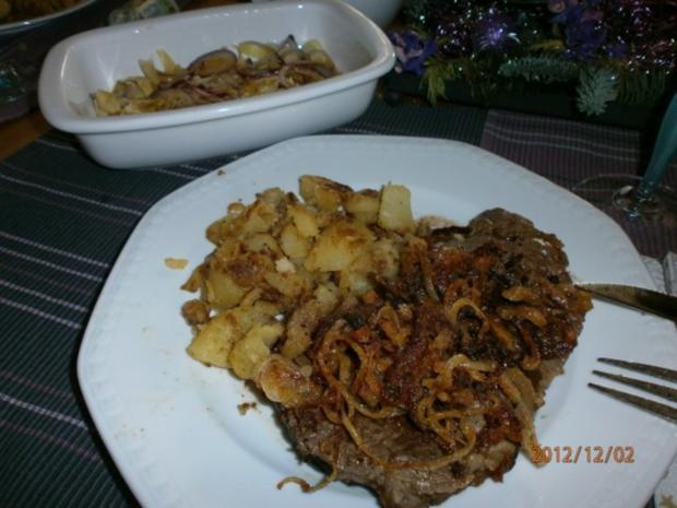 Roastbeef mit Zwiebeln und Chicorèe-Salat - Rezept - Bild Nr. 2