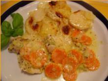 Pikantes Hähnchen mit Möhrenblüten und Kartoffelblütengratin - Rezept