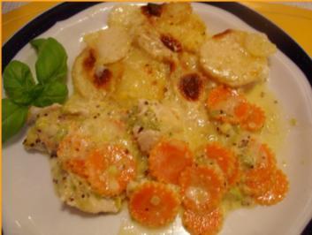 Rezept: Pikantes Hähnchen mit Möhrenblüten und Kartoffelblütengratin