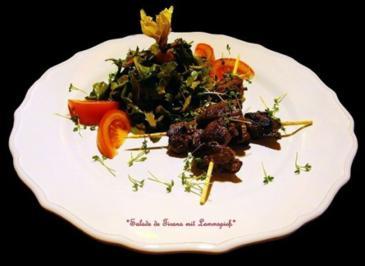 Salade de Tirana mit Lammspieße - Rezept
