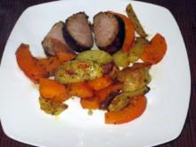 Glasiertes Schweinefilet mit Kürbis-Gemüse - Rezept