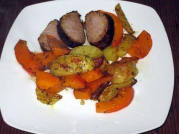 Rezept: Glasiertes Schweinefilet mit Kürbis-Gemüse