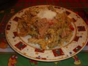 Nudelpfanne mit Jagdwurst und Schafskäse - Rezept