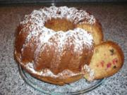 Histaminarmer Dinkelnapfkuchen mit Marzipan und kandierten Kirschen - Rezept