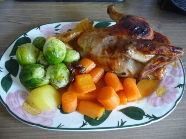 3. Adventsessen / Adventsmenü Orangenhähnchen in Rosinensoße mit Rosenkohl und Kartoffeln - Rezept - Bild Nr. 2