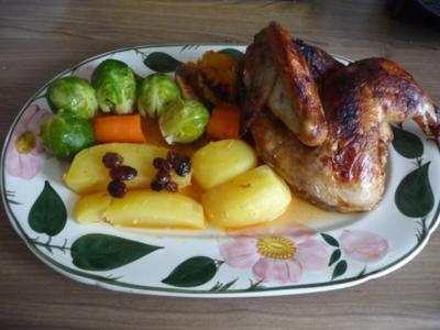 3. Adventsessen / Adventsmenü Orangenhähnchen in Rosinensoße mit Rosenkohl und Kartoffeln - Rezept