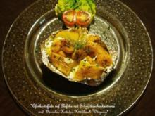 Ofenkartoffeln auf Alufolie mit Schnittlauchsahnecreme und Garnelen Kräuter Knoblauch Würz - Rezept