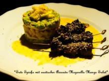 Sate Spieße mit exotischer Avocado-Mozarella-Mango Salat - Rezept