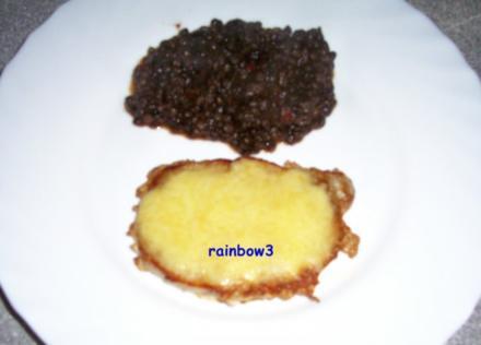 Kochen: Käse-Steaks mit Beluga-Linsen - Rezept
