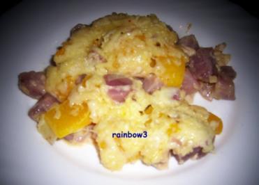 Auflauf: Kartoffeln mit Paprika, überbacken - Rezept