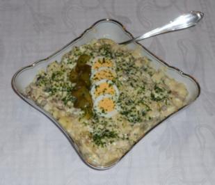 "Rezept: Feiner Kartoffelsalat à la  ""Oòrndrasch"", mit selbstgemachter Majo. (Rzpt. um 1976)"